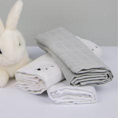 Lot de 3 langes en coton bio Mouton gris foncé (60 x 60 cm)