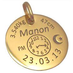 Médaille personnalisable avec croissant (or jaune 750°)