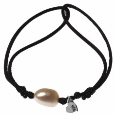 Bracelet cordon perle blanche et motif au choix (argent 925°)