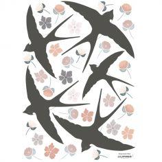 Stickers Adèle fleurs et hirondelles (29,7 x 42 cm)