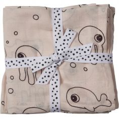 Lot de 2 maxi langes Sea Friends rose (120 x 120 cm)