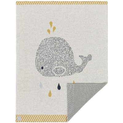Couverture en coton bio baleine Little Water  par Lässig