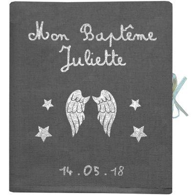 Album photo baptême personnalisable gris ardoise (126 pages)  par Les Griottes