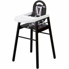 Chaise haute Lili en bois massif laqué noir