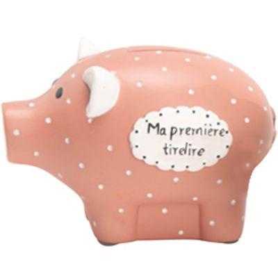 Tirelire cochon Léon le chaton rose (8 x 12 cm)  par Amadeus Les Petits