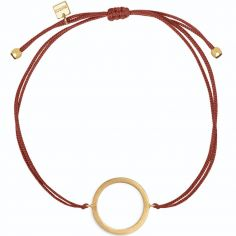 Bracelet sur cordon bordeaux cercle Geometric (vermeil doré)