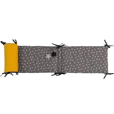 Tour de lit gris Les Moustaches (pour lits 60 x 120 et 70 x 140 cm)  par Moulin Roty