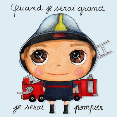 Tableau Je serai pompier (15 x 15 cm)  par Isabelle Kessedjian
