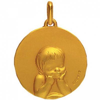 Médaille 16 mm Enfant laïque (or jaune 750°)  par A.Augis