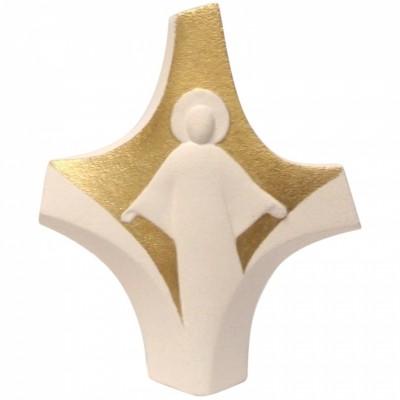 Petite croix dorée Christ ressuscité  par Centro Ave Ceramica