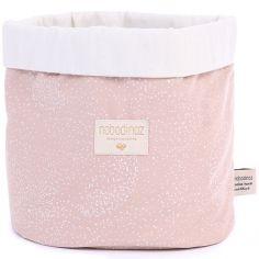 Panier de toilette en tissu Panda White bubble Misty pink (20 x 24 cm)
