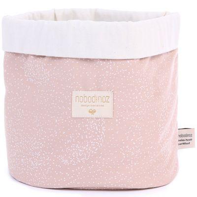 Panier de toilette en tissu Panda White bubble Misty pink (20 x 24 cm)  par Nobodinoz