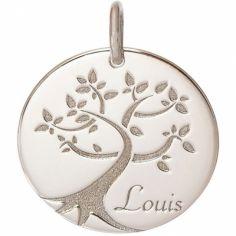 Médaille de naissance Louis personnalisable 18 mm (or blanc 750°)