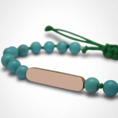 Bracelet Maracas perles (or rose 750° et turquoise)  par Mikado