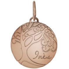 Médaille de naissance Inès personnalisable 17 mm (or rose 750°)