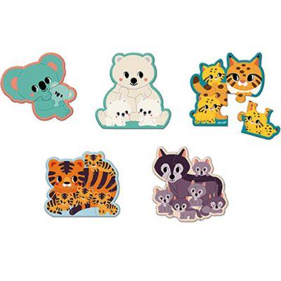 Set de 5 petits puzzles Animaux WWF (2 à 6 pièces)  par Janod
