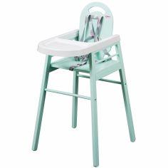 Chaise haute Lili laquée vert d'eau