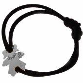 Bracelet cordon petite fille ou petit garçon parure diamant 20 mm (or blanc 750°) - Loupidou