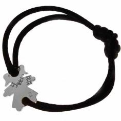 Bracelet cordon petite fille ou petit garçon parure diamant 20 mm (or blanc 750°)