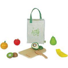 Sac avec fruits en bois