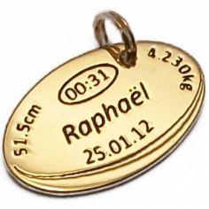 Médaille de naissance ballon de rugby (plaqué or jaune)