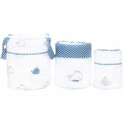 Lot de 3 paniers de toilette Blue baleine (18 x 21 cm)  par Sauthon
