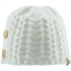 Bonnet en tricot avec boutons écru (0-6 mois)