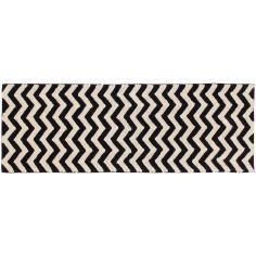 Tapis lavable zigzag noir et blanc (80 x 230 cm)