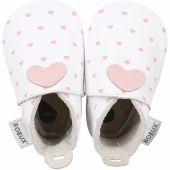 Chaussons bébé en cuir Soft soles Coeur roses et blancs (15-21 mois) - Bobux