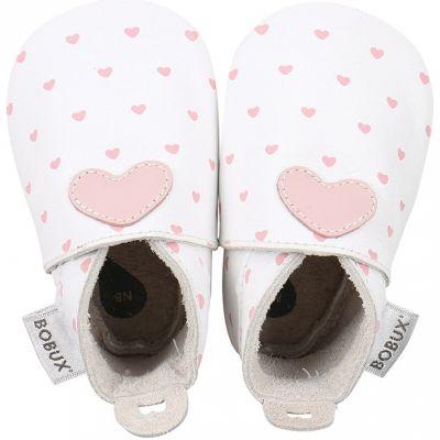 Chaussons bébé en cuir Soft soles Coeur roses et blancs (15-21 mois)  par Bobux