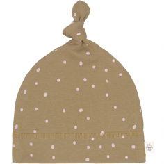 Bonnet en coton bio Cozy Colors pointillés curry (7-12 mois)