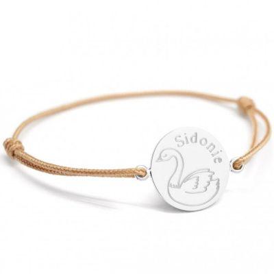 Bracelet cordon Cygne personnalisable (argent 925°)  par Petits trésors