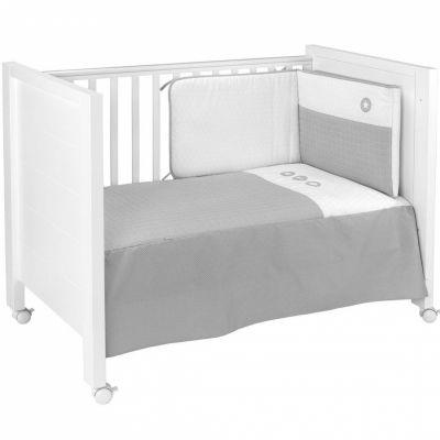 set couvre lit et tour de lit pic gris 70 x 140 cm. Black Bedroom Furniture Sets. Home Design Ideas