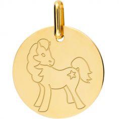 Médaille cheval personnalisable (or jaune 750°)
