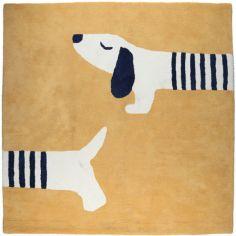 Tapis carré en coton bio Aston & Jack chien miel doré (120 x 120 cm)