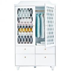 Armoire 2 portes + 4 tiroirs Harlequin blanche