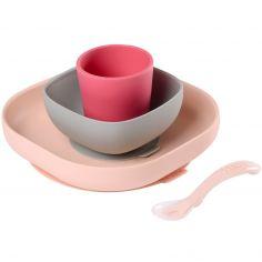 Coffret repas en silicone rose (4 pièces)