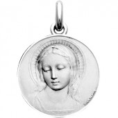 Médaille Vierge Amabilis (ronde) (or blanc 750°) - Becker