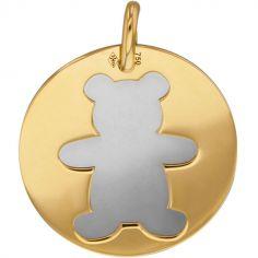 Médaille Ourson personnalisable (acier et or jaune 750°)