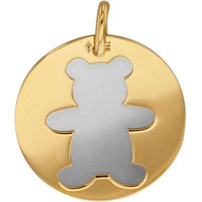Médaille Ourson personnalisable (acier et or jaune 750°)  par Lucas Lucor