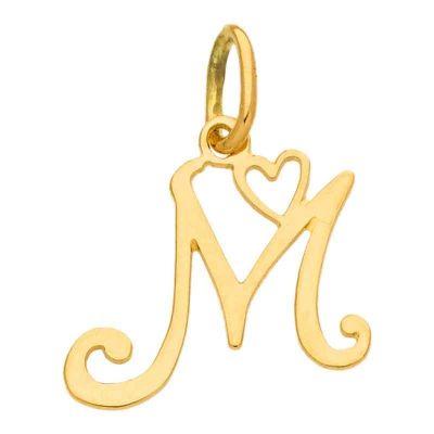 Pendentif initiale M (or jaune 750°)  par Berceau magique bijoux