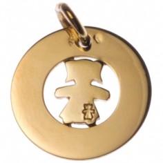 Médaille Bulle petite fille ou petit garçon 14 mm (or jaune 750°)