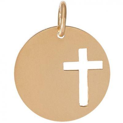 Médaille Léo croix ajourée personnalisable 16,5 mm (or jaune 750°)  par Je t'Ador