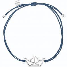 Bracelet sur cordon bleu bateau Origami (argent 925°)