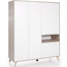 Armoire 3 portes Mette blanche et naturelle