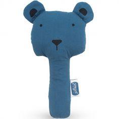 Hochet pouet pouet ours bleu (16 cm)