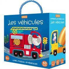 Livre et puzzle Les véhicules (40 pièces)