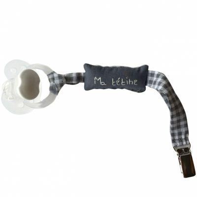 Attache sucette Ma tétine Vichy grise et blanche (22 cm)  par Le petit rien
