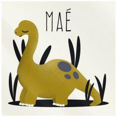 Plaque de porte carrée Les Dinosaures Diplodocus (personnalisable)