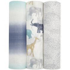 Lot de 3 maxi langes en bambou Silky Soft Expedition (120 x 120 cm)